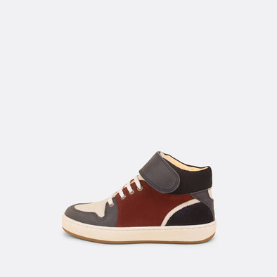 Kids' high top sporty sneaker in multi-color leather with adhesive strap.