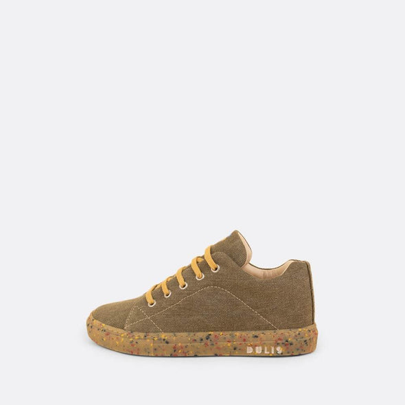 Kids' eco-friendly sneaker in khaki recycled cotton with recycled rubber sole and yellow laces.