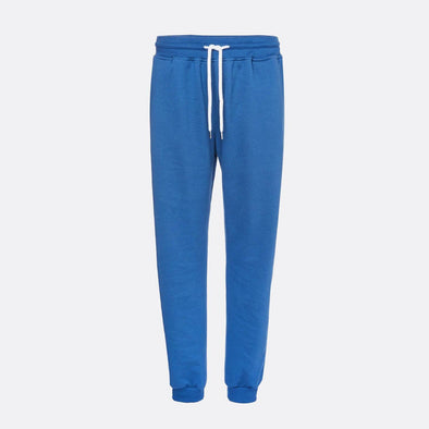 Blue sweatpants with rib and elastic waist.