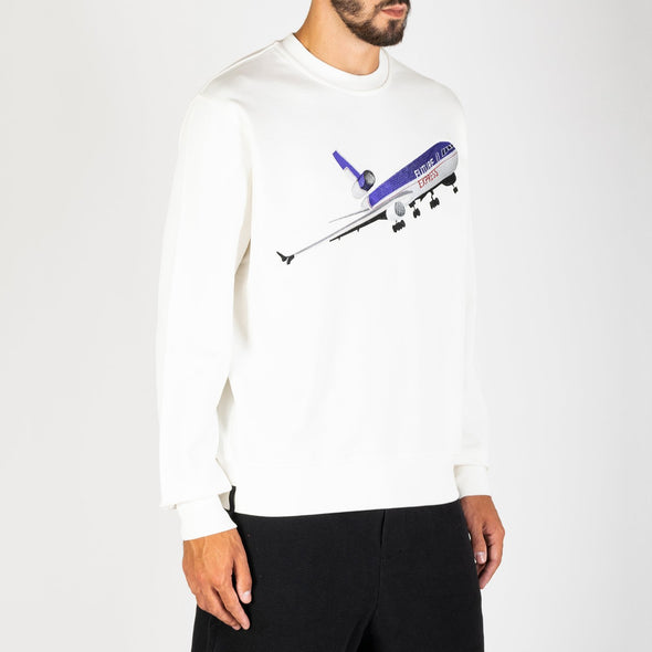 White 100% premium cotton fleece, ribbed crewneck sweatshirt with a chest embroidery of a retro aeroplane.