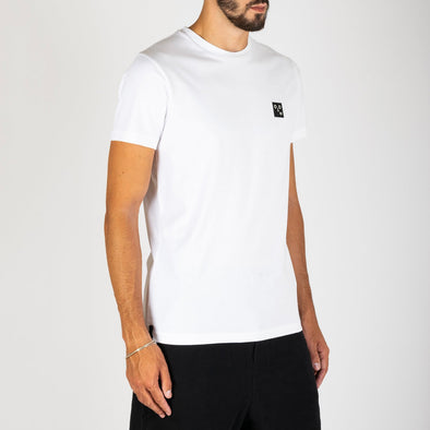 White 100% premium cotton t-shirt with 'emotion face' embroidered badge at the chest.