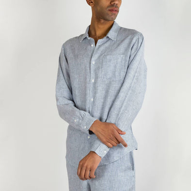 100% linen hawaiian long sleeved shirt in a mix of stripes and plain indigo.