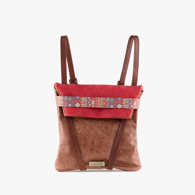 Faceted reversible backpack in camel leather and red nubuck with fold-top, brown leather straps and aztec print elastic closure