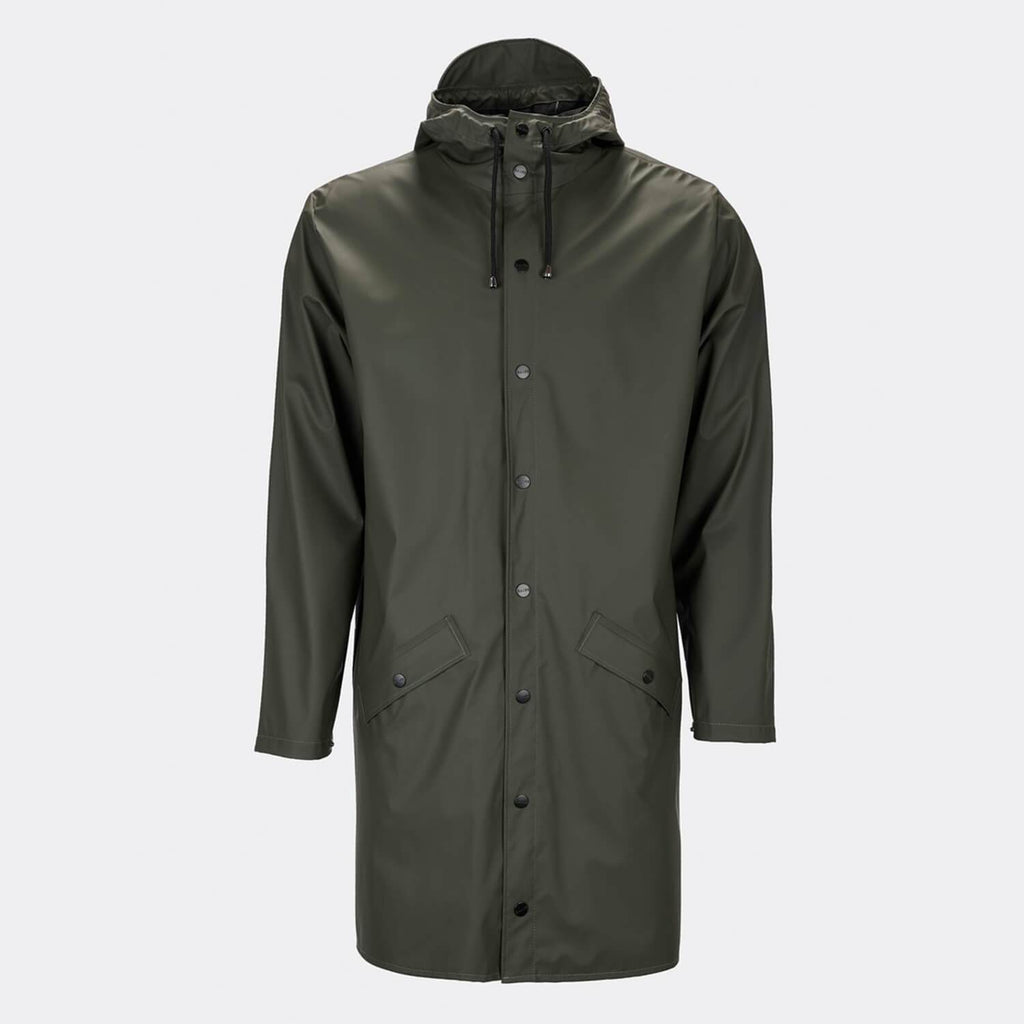 Unisex olive green casual raincoat with double welded slanting pocket flaps, adjustable cuffs and a fishtail.