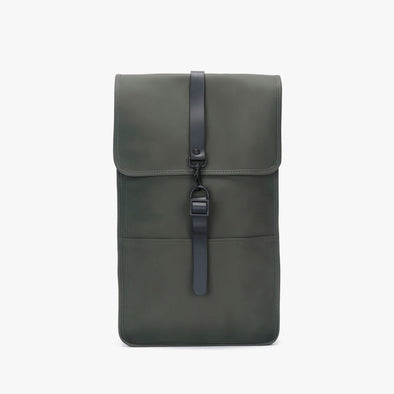 Boxy minimalist backpack in forest green synthetic with a single metallic black hook clasp