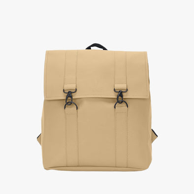 Boxy style minimalist backpack in knaki synthetic with two black metallic hook clasps