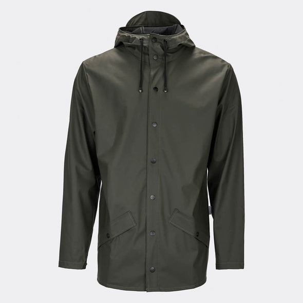 Olive green functional rain jacket with a casual fit, featuring an adjustable hood with a practical cap function.
