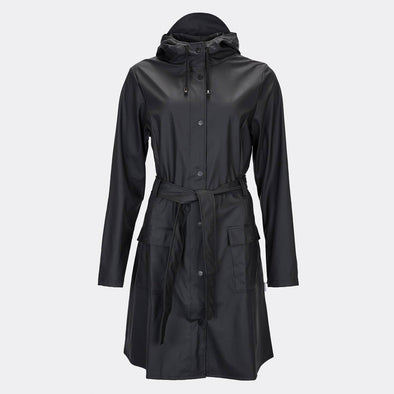 Black classic yet practical women's rain jacket inspired by the timeless trench coat.