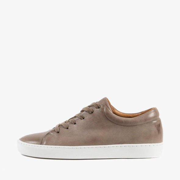 Lace-up sneakers in taupe leather with white rubber sole