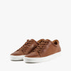 Lace-up sneakers in hazel brown leather with white rubber sole