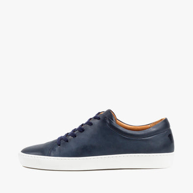 Lace-up sneakers in navy blue leather with white rubber sole