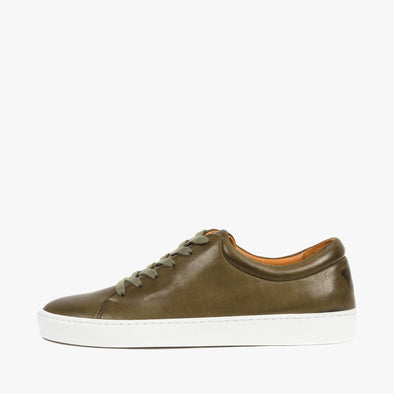 Lace-up sneakers in olive green leather with white rubber sole