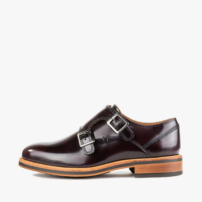 Double monk strap shoes in bordaux polished leather with a contrasting chunky sole