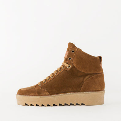 High top lace-up sneakers in camel brown suede with a beige rubber platform sole