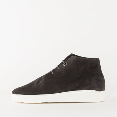 High top minimalist chukka sneakers in charcoal grey suede with a white sole