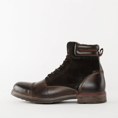 Lace-up boots in brown burnished leather with suede panels and a cap toe