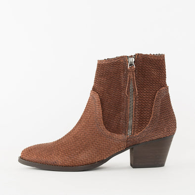 Low heeled ankle boots with a low comma heel and pointed toe design in cognac brown waxed suede in a scale texture