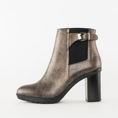 High-heeled chelsea boots in bronze full-grain leather with a block heel and an ankle strap