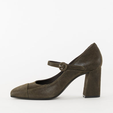 Mary Jane Pumps with thin strap in olive green waxed suede with a block heel