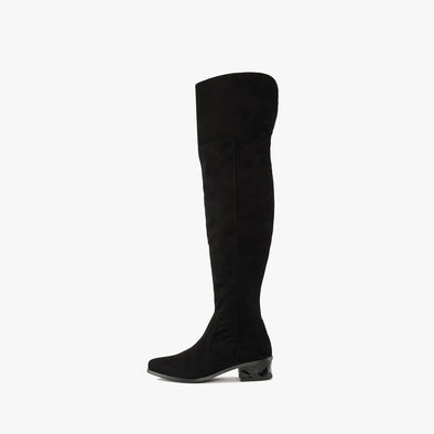 Minimalist over-the-knee boots in black suede with side ziper and faceted low heel