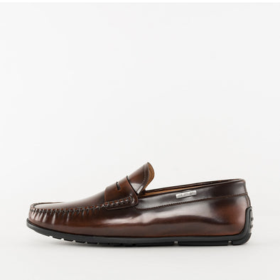 Moccasin loafers in a classic style, dark brown polished leather, ergonomic rubber sole