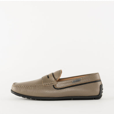 Moccasin loafers in a classic style, taupe beige full grain leather, ergonomic rubber sole