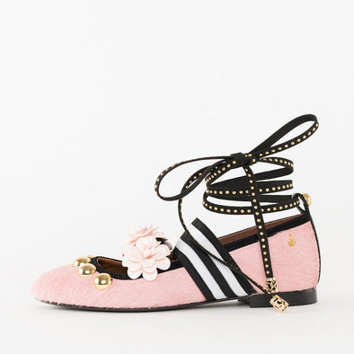 Ballet flats in millenial pink faux fur with a striped elastic, golden metallic and soft pink rose appliques and an optional thin black lace-up tie with golden tacks