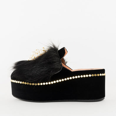 Mules in black velvet with fur and pearls applique and high platfrom heel with golden tacks