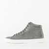 High top lace-up sneakers in grey leather with white rubber sole