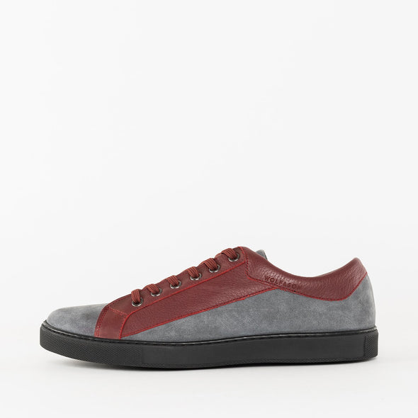 Low top lace up paneled sneakers in grey suede and bordeaux leather with dark grey rubber sole
