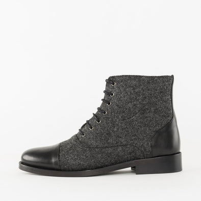 Vintage slim lace-up boots in grey mesh textile with black leather cap toe and heel tab