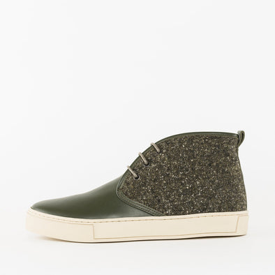 High top chukka sneakers in olive green leather with mesh-look textile upper and white rubber sole