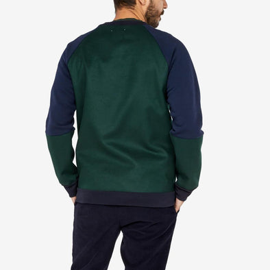 Double fabric sweatshirt in darke green and navy blue.