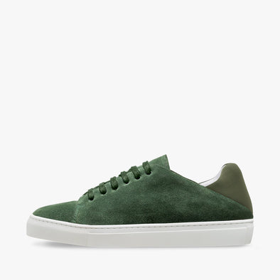 Classic lace-up sneaker in basil green suede with matching heel counter in neoprene and white rubber sole