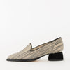 Pointed toe minimalist loafers with off-white lined pattern and black suede short heel