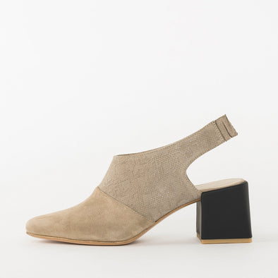 Slingback pumps in beige, plain suede tip and subtle snake-textured suede upper, contrasting medium-height block heel in dark blue leather