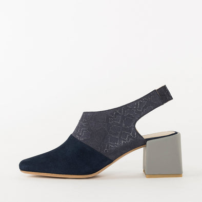 Slingback pumps in navy blue, plain suede tip and subtle snake-textured suede upper, contrasting medium-height block heel in grey leather