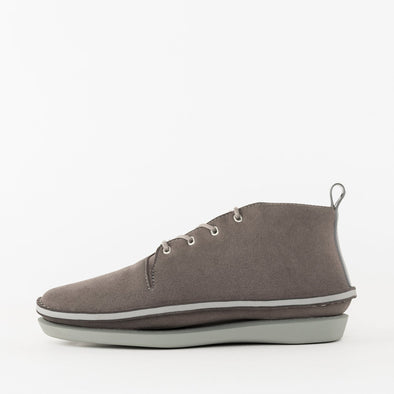 Casual avant-garde ankle boots in warm grey with rubber sole