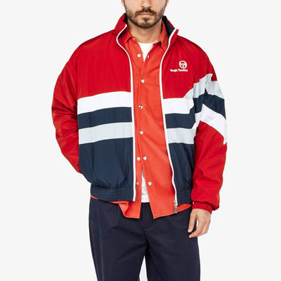 Red bomber featuring white and blue stripes with embroidery logo on the chest.