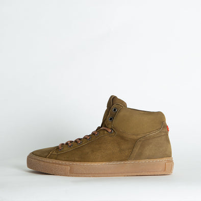 Hight top sneakers in khaki leather.