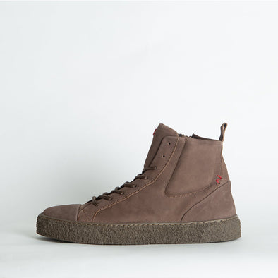 High top sneakers in taupe leather.