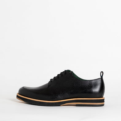Fine black leather derby shoes.