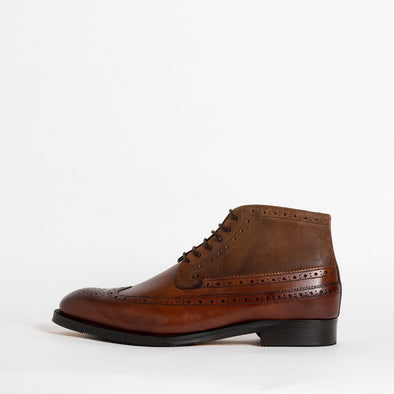 Brown leather lace-up boots.