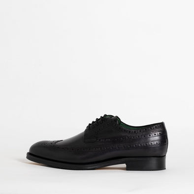Black polished leather derby shoes.