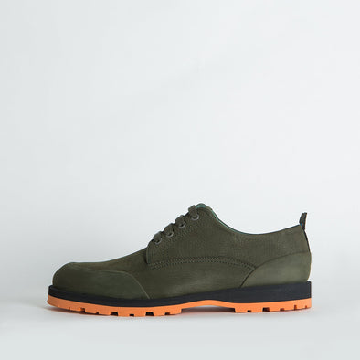 Military green derby shoes with a distinctive sole.