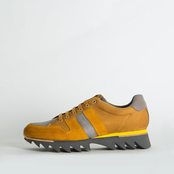 Edgy colorblocked sneakers with a distinctive sole.