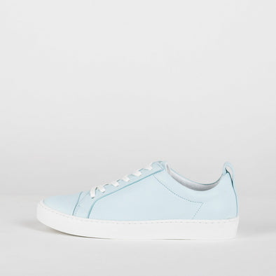 Classic low top leather sneakers in pale blue.