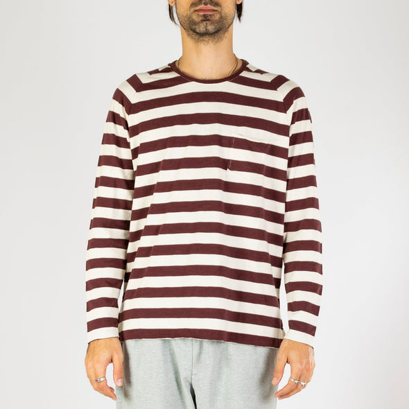 Striped long sleeve shirt with bordeaux and a sandy tone stripes.