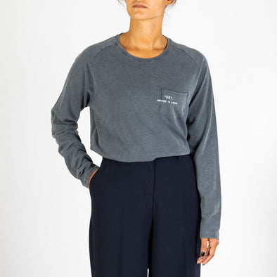Women's fade out blue longsleeve with a round neck and '+351 small pocket on the front.