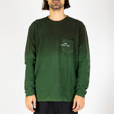 Green urban pullover with a gradient color fade inspired by the sunset.